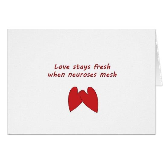 Notecard divertido del amor y de la neurosis tarjeta de felicitación