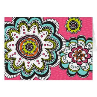 Notecard floral de la dicha moderna tarjeta de felicitación