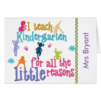 Notecards del maestro de jardín de infancia de tarjeta pequeña