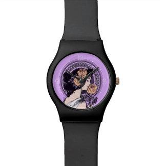 Nouveau violeta del arte del vintage reloj de mano