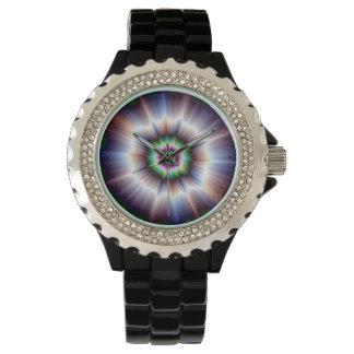 Nova estupendo verde y azul violeta relojes de pulsera