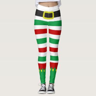 Novedad roja del navidad del verde rayado del leggings