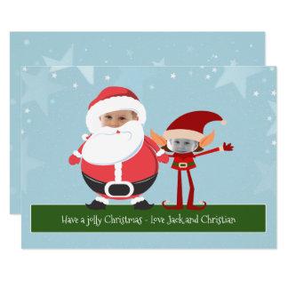 Novedad Santa de la diversión y navidad del duende Invitación 12,7 X 17,8 Cm