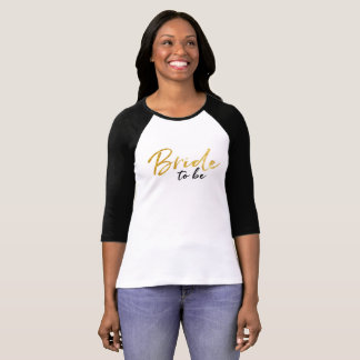 Novia a ser camiseta de la escritura del oro