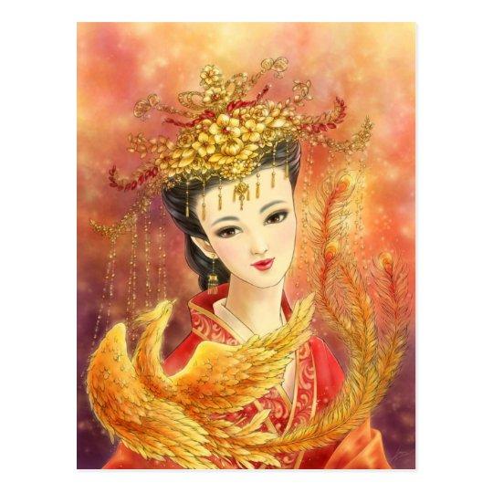 Novia china con la postal de la fantasía de