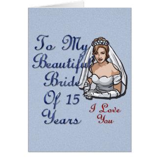Novia de 15 años tarjeta de felicitación