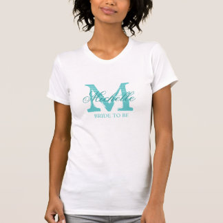 Novia de encargo del monograma a ser turquesa de camiseta