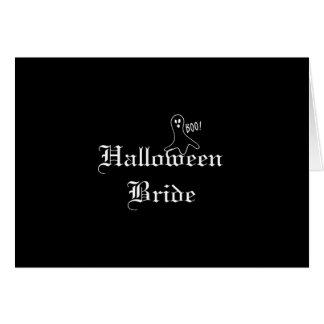 Novia de Halloween con el fantasma Tarjeta De Felicitación
