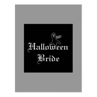 Novia de Halloween con el fantasma Postal