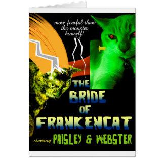 Novia de la tarjeta de Frankencat Halloween