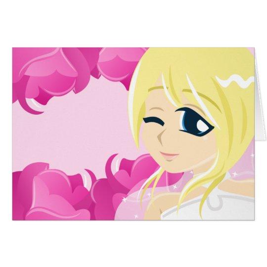 Novia del color de rosa rosado: Blonde con la Tarjeta De Felicitación