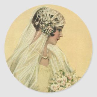 Novia del Victorian del vintage en retrato nupcial Etiquetas Redondas