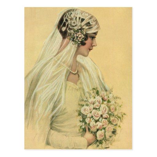 Novia del Victorian del vintage en retrato nupcial Tarjetas Postales