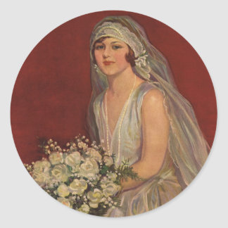 Novia del Victorian del vintage que presenta para  Pegatina Redonda