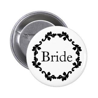 Novia elegante y simple del boda chapa redonda 5 cm