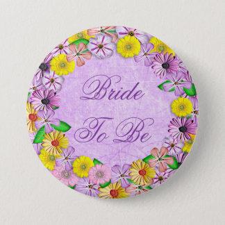 """""""Novia floral púrpura y amarilla a ser"""" botón"""