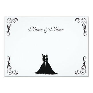 Novia lesbiana y boda blanco y negro de la novia invitación 12,7 x 17,8 cm