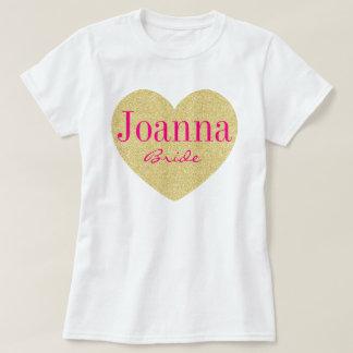 Novia personalizada corazón de oro del brillo camiseta