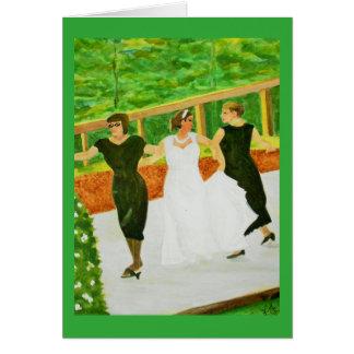 Novia y abuelas que casan la acuarela de la danza tarjeta de felicitación