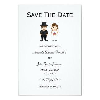 Novia y novio - 3x5 ahorran la fecha invitación 8,9 x 12,7 cm