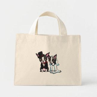 Novia y novio de Boston Terrier Bolsa Tela Pequeña