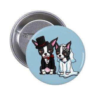 Novia y novio de Boston Terrier Chapa Redonda De 5 Cm