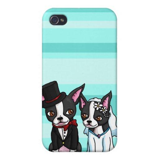 Novia y novio de Boston Terrier iPhone 4 Coberturas