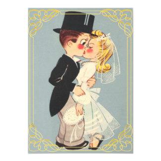 Novia y novio enmarcados lindos invitación 11,4 x 15,8 cm