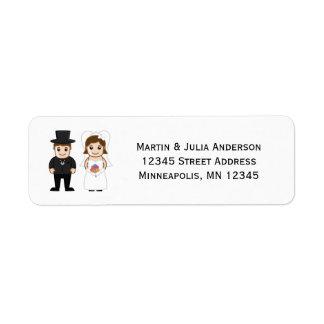 Novia y novio - etiquetas de dirección