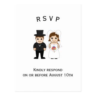 Novia y novio - postal de RSVP