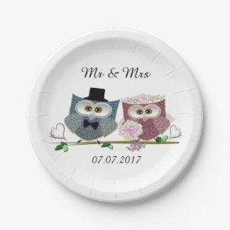 Novia y novio que casan las placas de papel plato de papel