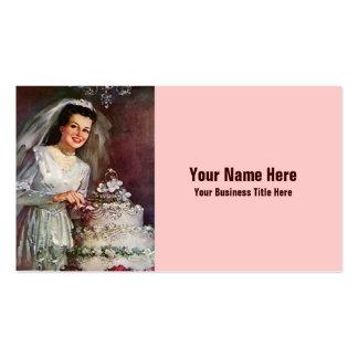 Novia y su pastel de bodas - los años 50 del tarjetas de visita