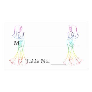 Novias en colores pastel del arco iris que casan tarjetas de visita