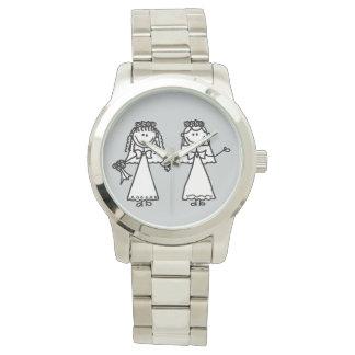 Novias gay lindas que casan el dibujo animado relojes de pulsera