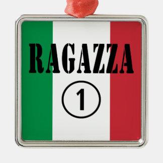 Novias italianas: Uno de Ragazza Numero Adorno Cuadrado Plateado