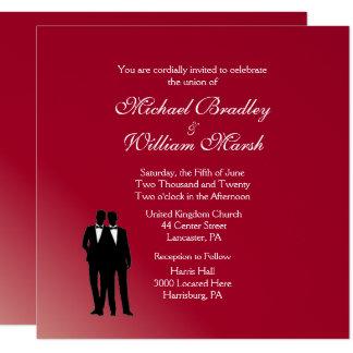 Novio de Borgoña y boda gay del novio Invitación 13,3 Cm X 13,3cm