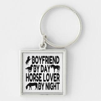 Novio del amante del caballo llavero cuadrado plateado