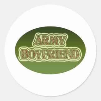 Novio del ejército pegatina redonda