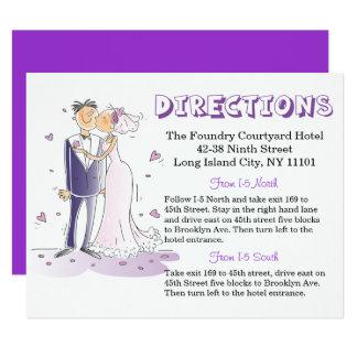 Novio púrpura de la novia del dibujo animado de invitación 10,8 x 13,9 cm