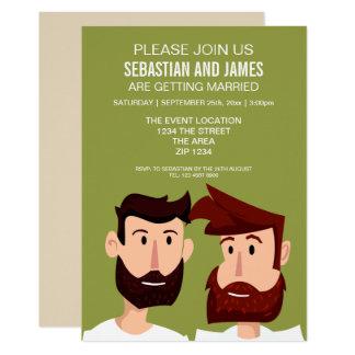 Novios del gay con casarse del dibujo animado de invitación 12,7 x 17,8 cm