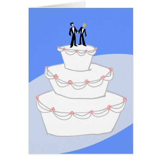 Novios del pastel de bodas dos felicitaciones