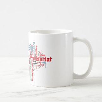 Nube comunista de la palabra del manifiesto taza de café