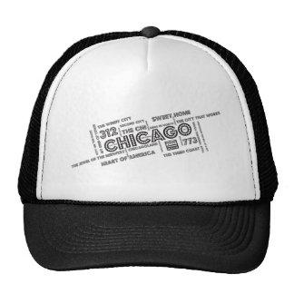 Nube de la palabra de Chicago Gorros Bordados