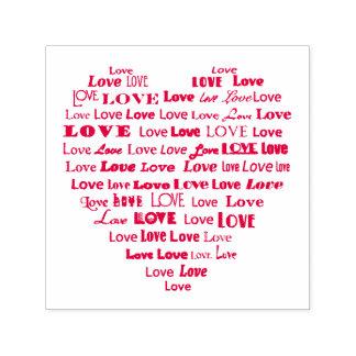 Nube de la palabra del corazón del amor sello automático