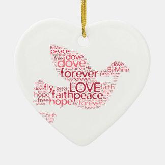 Nube de la palabra del día de San Valentín del Adorno Navideño De Cerámica En Forma De Corazón