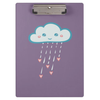 Nube de lluvia azul feliz que llueve corazones