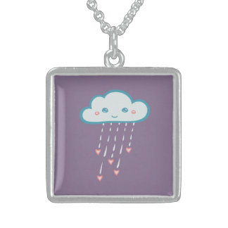 Nube de lluvia azul feliz que llueve corazones collar de plata de ley