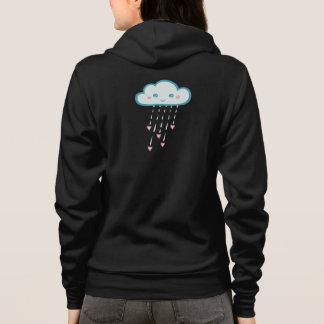 Nube de lluvia azul feliz que llueve corazones sudadera