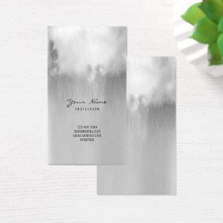 Nube de lluvia metálica de los gris plateados tarjeta de negocios