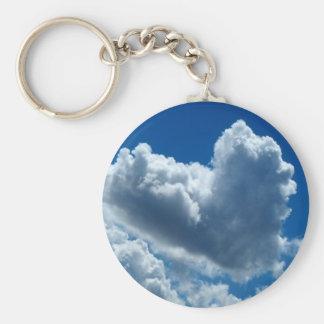Nube en forma de corazón llavero redondo tipo chapa